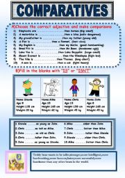 Comparative Forms of Adjectives Exercises Worksheet
