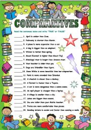 Comparatives True Or False ESL Exercise Worksheet