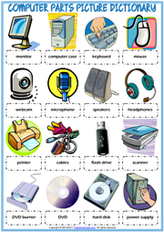 Computer Parts Picture Dictionary ESL Worksheet For Kids