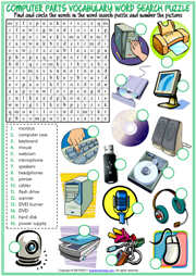 Computer Parts Word Search Puzzle ESL Worksheet For Kids
