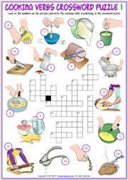 Cooking Verbs Crossword Puzzle ESL Printable Worksheets