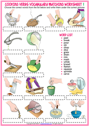 Cooking Verbs Vocabulary Matching Exercise Worksheets