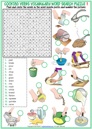 Cooking Verbs Word Search Puzzle ESL Printable Worksheets