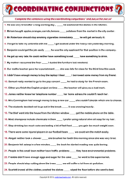 Coordinating Conjunctions ESL Printable Grammar Worksheet
