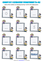 Counting Forward by 1 from 0 to 10 Exercises Worksheet