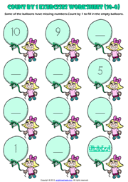Counting Backwards by 1 from 10 to 0 Exercises Worksheet