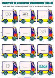 Counting Backwards by 10 from 100 to 0 Exercise Worksheet