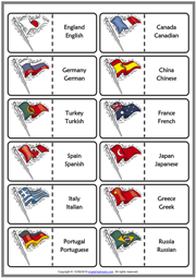 Countries And Nationalities ESL Printable Dominoes Game