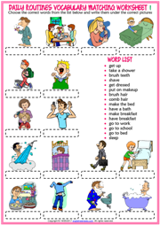 Daily Routines ESL Vocabulary Matching Exercise Worksheets
