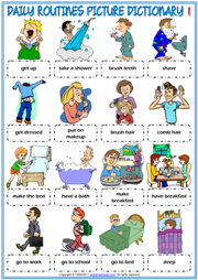 Daily Routines ESL Printable Picture Dictionary For Kids
