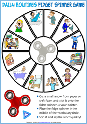 Daily Routines ESL Printable Fidget Spinner Game For Kids
