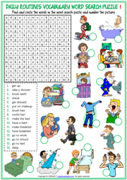 Daily Routines ESL Word Search Puzzle Worksheets For Kids
