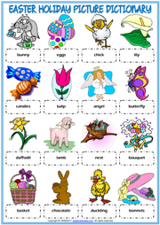 Easter Holiday Picture Dictionary ESL Worksheet For Kids