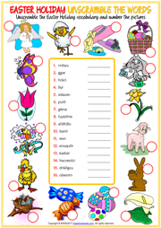 Easter Holiday Unscramble the Words ESL Worksheet