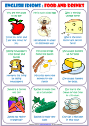 English Idioms ESL Study Cards About Food and Drinks