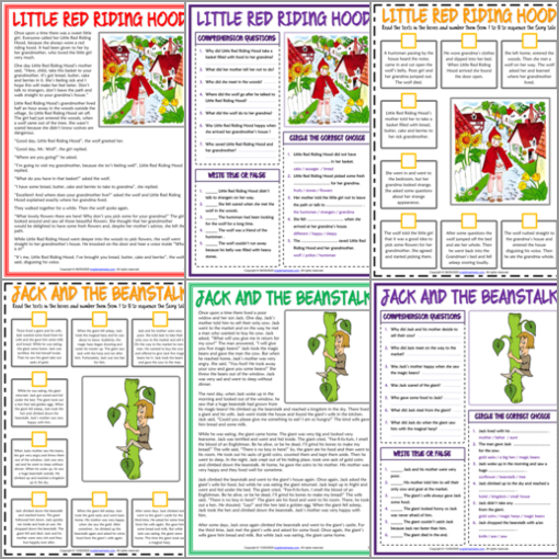 ESL Printable Fairy Tales Reading Comprehension Worksheets and Exercises