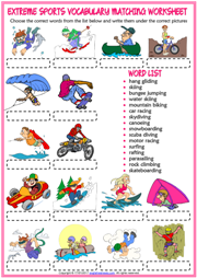 Extreme Sports Vocabulary Matching Exercise ESL Worksheet