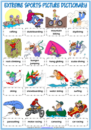 Extreme Sports Picture Dictionary ESL Worksheet For Kids