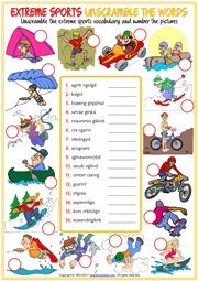 Extreme Sports Unscramble the Words ESL Quiz for Kids