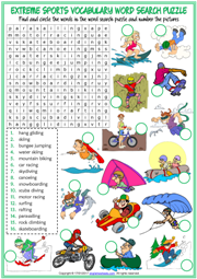 Extreme Sports Word Search Puzzle ESL Worksheet For Kids