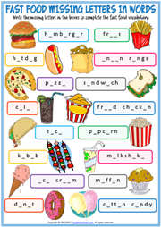 Fast Food Missing Letters In Words Exercise Handout