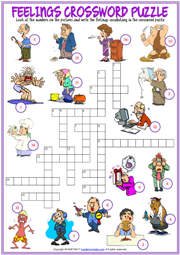 Feelings Crossword Puzzle ESL Exercise Worksheet For Kids