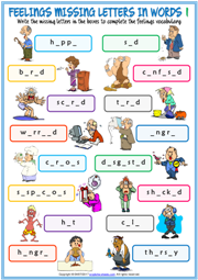 Feelings Missing Letters In Words ESL Exercise Handout