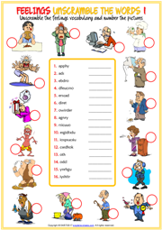 Feelings Unscramble the Words ESL Printable Worksheet