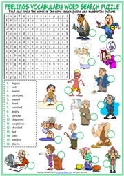 Feelings Word Search Puzzle ESL Worksheet For Kids