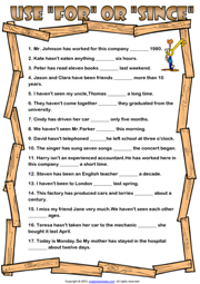 For and Since ESL Grammar Exercise Worksheet