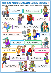 Free Time Activities Missing Letters In Words Worksheets