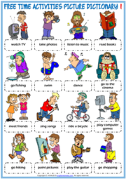 Free Time Activities ESL Picture Dictionary Worksheets