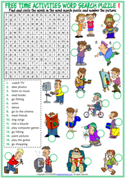 Free Time Activities ESL Word Search Puzzle Worksheets