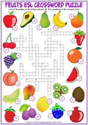 Fruits ESL Printable Crossword Puzzle Worksheet For Kids