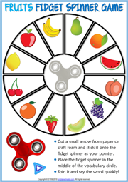 Fruits ESL Printable Fidget Spinner Game For Kids