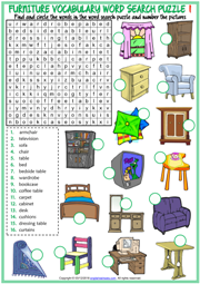 Furniture ESL Printable Word Search Puzzle Worksheets