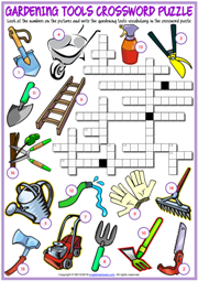 Gardening Tools ESL Printable Crossword Puzzle Worksheet