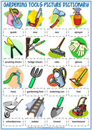 Gardening Tools ESL Picture Dictionary Worksheet For Kids