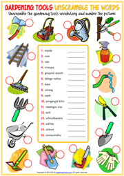 Gardening Tools ESL Unscramble the Words Worksheet