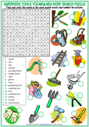 Gardening Tools ESL Word Search Puzzle Worksheet For Kids