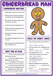 Gingerbread Man ESL Reading Comprehension Questions Worksheet