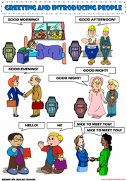 Greeting People Picture Dictionary ESL Worksheet