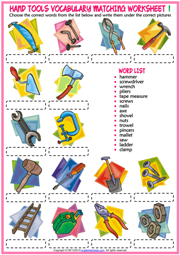 Hand Tools ESL Matching Exercise Worksheets For Kids