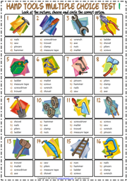 Hand Tools ESL Printable Multiple Choice Test For Kids