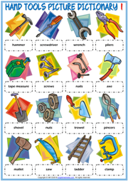 Hand Tools ESL Picture Dictionary Worksheets For Kids