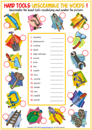 Hand Tools ESL Unscramble the Words Worksheets For Kids
