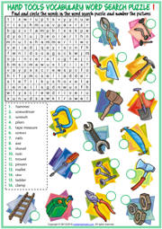 Hand Tools ESL Word Search Puzzle Worksheets For Kids