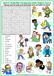Health Problems Word Search Puzzle ESL Printable Worksheet