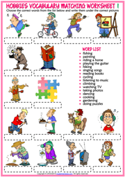 Hobbies ESL Vocabulary Matching Exercise Worksheets