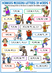 Hobbies ESL Missing Letters In Words Exercise Worksheets